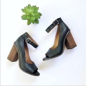 Kelsi Dagger • Leather Peep Toe Pumps Ankle strap